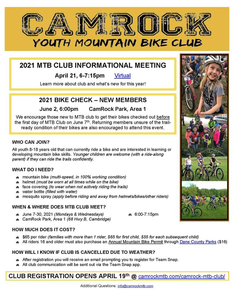 Camrock youth mountain bike club informational meeting April 21st 6:00pm to 7:15pm. Learn more about club and what's new for the year.