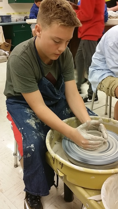 Carson on the wheel starting his project